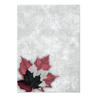 """Red and Black Leaves Goth Wedding 5"""" X 7"""" Invitation Card"""