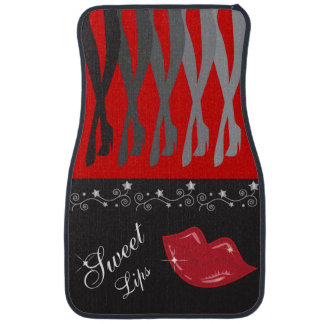Red and Black Legs and Lips Floor Mat