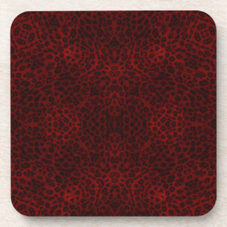 Red and Black Leopard Print Coaster