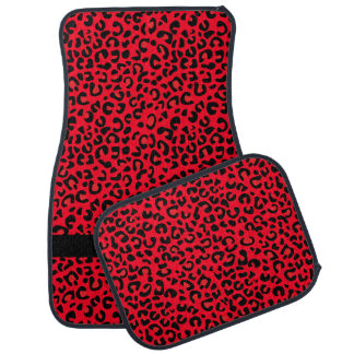 Red and Black Leopard Print | Monogram Car Mat