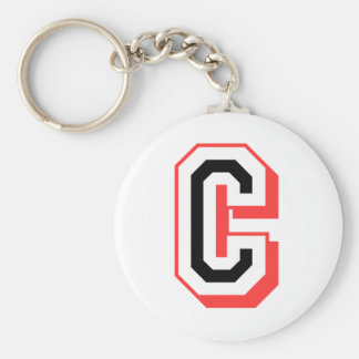 red and black letter C Key Ring