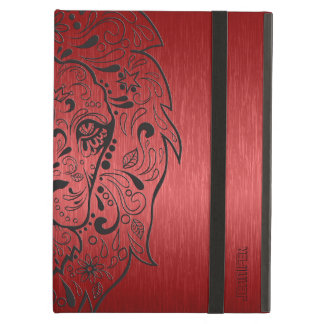 Red And Black Lion Sugar Skull Case For iPad Air