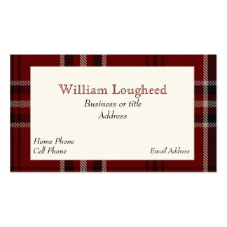 Red and Black Lougheed Scottish Tartan Plaid Pack Of Standard Business Cards