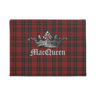 Red and Black MacQueen Plaid with Crown Door Mat