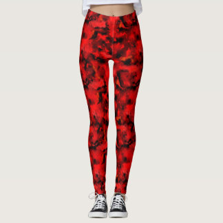 Red and black marbled camo leggings