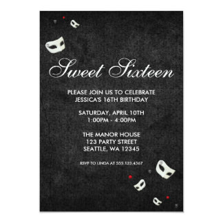 Red and Black Masquerade Sweet 16 Birthday Card