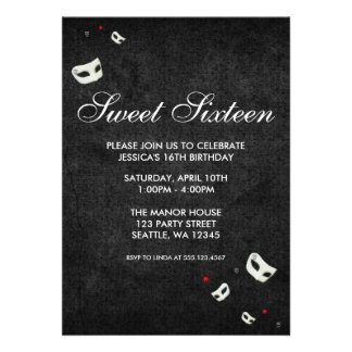 Red and Black Masquerade Sweet Sixteen Birthday Invites