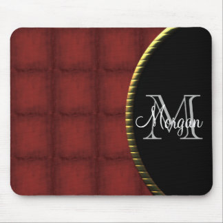 Red and Black Monogram Mouse Pad