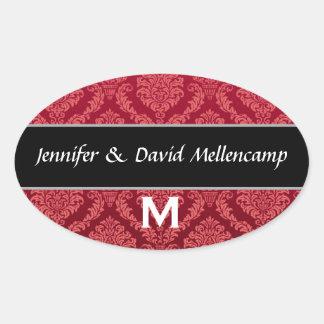 Red and Black Monogram Wedding Damask Oval Sticker