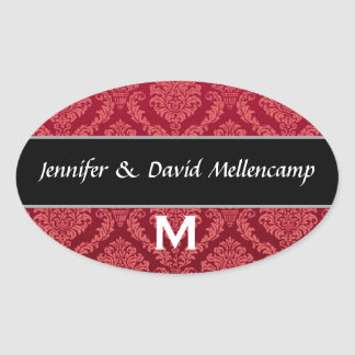 Red and Black Monogram Wedding Damask Stickers