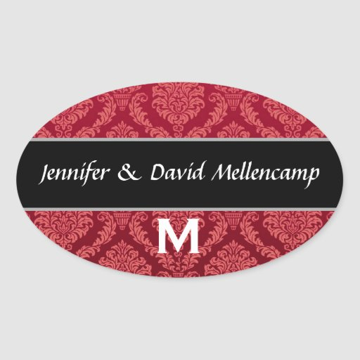 Red and Black Monogram Wedding Damask Stickers