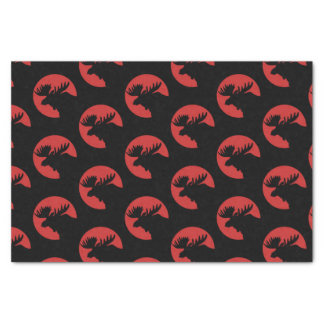Red and Black Moose Head Tissue Paper