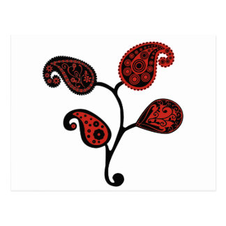 Red and Black Paisley Postcard