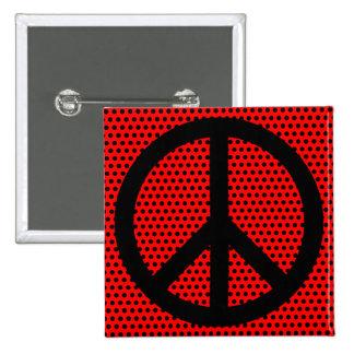 Red and Black Peace Symbol 15 Cm Square Badge