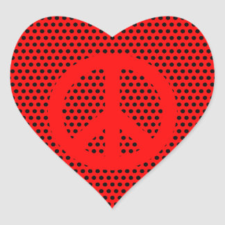 Red and Black Peace Symbol Heart Sticker