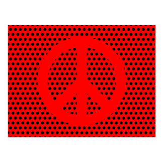 Red and Black Peace Symbol Postcard