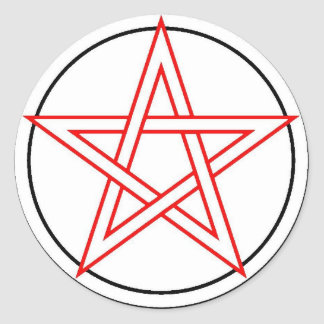 Red and Black Pentacle Classic Round Sticker