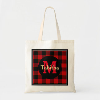 Red and Black Plaid Monogram and Name Tote Bag