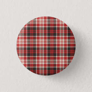 Red and Black Plaid Pattern 3 Cm Round Badge