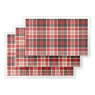 Red and Black Plaid Pattern Acrylic Tray