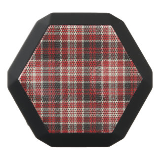 Red and Black Plaid Pattern Black Bluetooth Speaker
