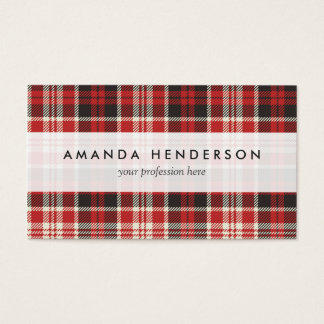 Red and Black Plaid Pattern Business Card