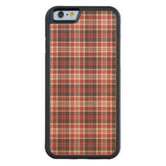Red and Black Plaid Pattern Carved Maple iPhone 6 Bumper Case