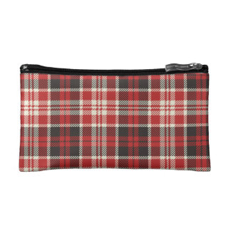 Red and Black Plaid Pattern Cosmetic Bag