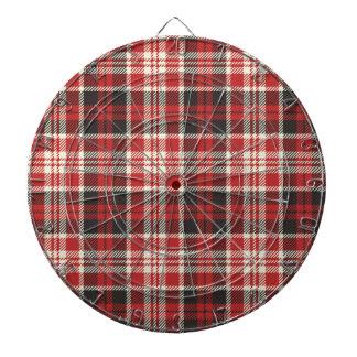 Red and Black Plaid Pattern Dartboard