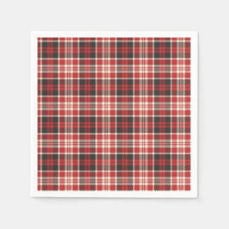 Red and Black Plaid Pattern Disposable Napkin
