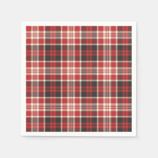 Red and Black Plaid Pattern Disposable Serviette