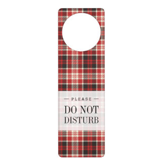 Red and Black Plaid Pattern Door Hanger