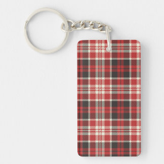 Red and Black Plaid Pattern Key Ring