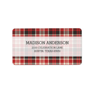 Red and Black Plaid Pattern Label