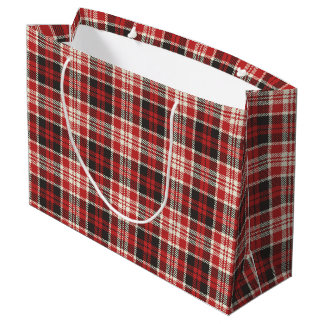 Red and Black Plaid Pattern Large Gift Bag