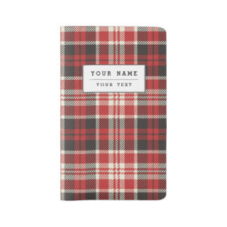 Red and Black Plaid Pattern Large Moleskine Notebook