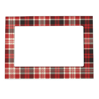 Red and Black Plaid Pattern Magnetic Frame