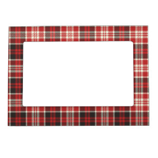Red and Black Plaid Pattern Magnetic Picture Frame