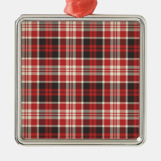 Red and Black Plaid Pattern Metal Ornament