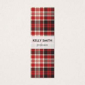Red and Black Plaid Pattern Mini Business Card