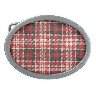 Red and Black Plaid Pattern Oval Belt Buckles