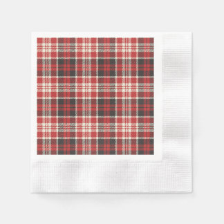 Red and Black Plaid Pattern Paper Napkin