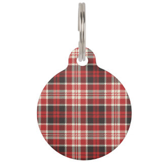 Red and Black Plaid Pattern Pet ID Tag