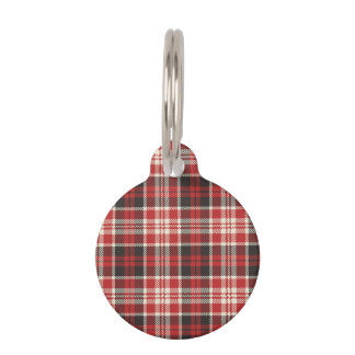 Red and Black Plaid Pattern Pet Name Tag