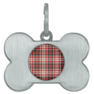 Red and Black Plaid Pattern Pet Tag