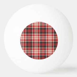 Red and Black Plaid Pattern Ping Pong Ball