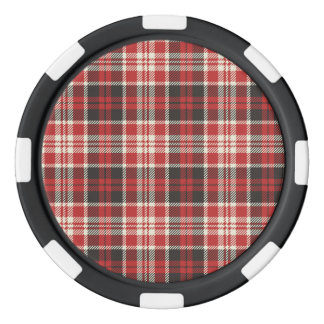 Red and Black Plaid Pattern Poker Chips