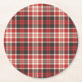 Red and Black Plaid Pattern Round Paper Coaster
