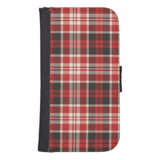 Red and Black Plaid Pattern Samsung S4 Wallet Case