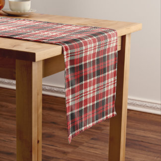 Red and Black Plaid Pattern Short Table Runner